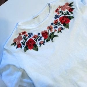 Other - White cotton colorful floral embroidered top sz6